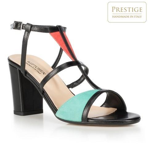 Sandały na słupku skórzane z kolorowymi wstawkami, multikolor, 90-D-404-X-41, Zdjęcie 1