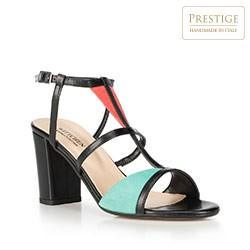 Sandały na słupku skórzane z kolorowymi wstawkami, multikolor, 90-D-404-X-36, Zdjęcie 1