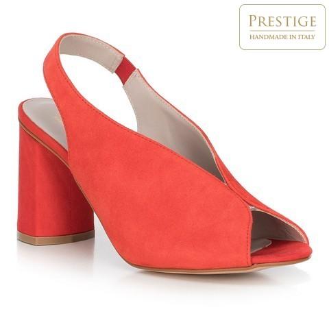 Sandały zamszowe na słupku z gumką, czerwony, 90-D-651-3-37, Zdjęcie 1