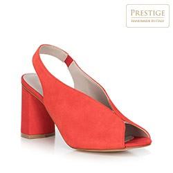 Sandały zamszowe na słupku z gumką, czerwony, 90-D-651-3-36, Zdjęcie 1