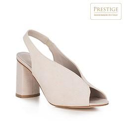 Sandały zamszowe na słupku z gumką, jasny beż, 90-D-651-9-39, Zdjęcie 1