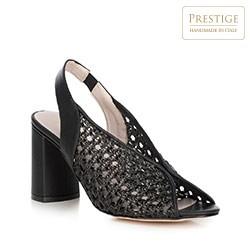 Sandały na słupku ażurowe z gumką, czarny, 90-D-652-1-40, Zdjęcie 1