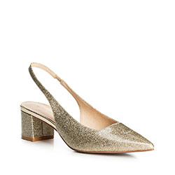 Sandały skórzane na słupku złote, złoty, 90-D-906-G-35, Zdjęcie 1