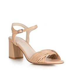 Sandały skórzane na słupku z cienkimi paseczkami, jasny beż, 90-D-907-1-35, Zdjęcie 1