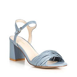Sandały skórzane na słupku z cienkimi paseczkami, niebieski, 90-D-907-N-37, Zdjęcie 1