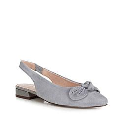 Damskie sandały zamszowe z kokardą, szary, 90-D-956-8-37, Zdjęcie 1