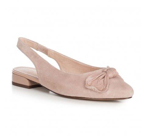 Damskie sandały zamszowe z kokardą, beżowy, 90-D-956-8-37, Zdjęcie 1