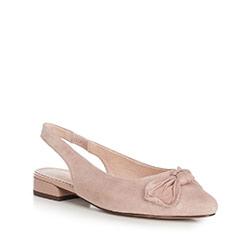 Damskie sandały zamszowe z kokardą, beżowy, 90-D-956-9-36, Zdjęcie 1