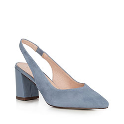 Sandały na słupku zamszowe z czubkiem w szpic, niebieski, 90-D-957-7-41, Zdjęcie 1