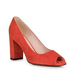 Czółenka zamszowe na słupku peep toe, czerwony, 90-D-959-3-41, Zdjęcie 1