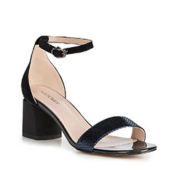 Sandały skórzane na słupku klasyczne, czarny, 90-D-960-1-37, Zdjęcie 1
