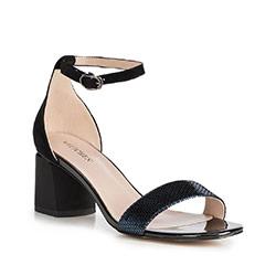 Sandały skórzane na słupku klasyczne, czarny, 90-D-960-1-38, Zdjęcie 1