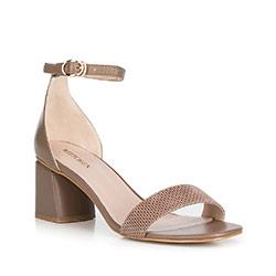Sandały skórzane na słupku klasyczne, taupe, 90-D-960-8-41, Zdjęcie 1