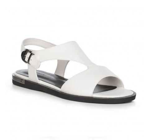 Damskie sandały skórzane na płaskiej podeszwie, biało - czarny, 90-D-962-0-36, Zdjęcie 1