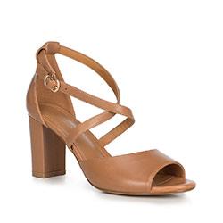 Sandały skórzane na słupku z zakrytą piętą, jasny brąz, 90-D-963-5-36, Zdjęcie 1