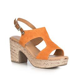 Sandały zamszowe na słupku na sznurkowej platformie, pomarańczowy, 90-D-964-6-37, Zdjęcie 1