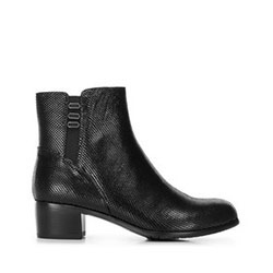 Suede ankle boots with metallised effect, black, 91-D-950-1-37, Photo 1
