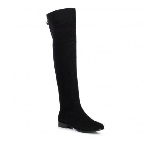 Muszkieterki zamszowe za kolano, czarny, 91-D-951-1-37, Zdjęcie 1