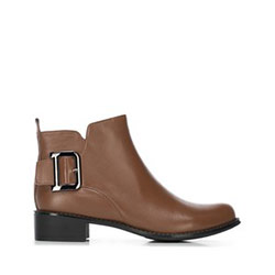 Women's buckle detail ankle boots, light brown, 91-D-954-5-39, Photo 1