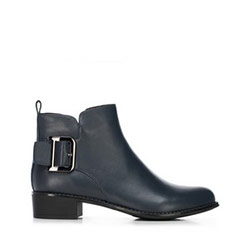 Women's buckle detail ankle boots, navy blue, 91-D-954-7-35, Photo 1