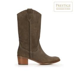 Mid-calf suede cowboy boots, brown, 92-D-050-4-40, Photo 1
