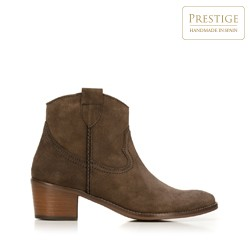 Suede cowboy ankle boots, brown, 92-D-051-4-39, Photo 1