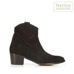 Suede cowboy ankle boots, black, 92-D-052-1-36, Photo 1