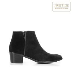 Suede cowboy ankle boots, black, 92-D-055-1-39, Photo 1