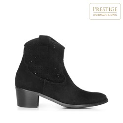 Perforated cowboy ankle boots, black, 92-D-056-1-40, Photo 1