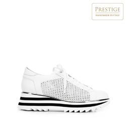 Damskie sneakersy ze skóry perforowanej, biało - czarny, 92-D-104-0-36, Zdjęcie 1