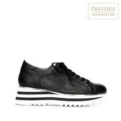 Damskie sneakersy ze skóry perforowanej, czarno - biały, 92-D-104-1-36, Zdjęcie 1