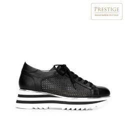 Damskie sneakersy ze skóry perforowanej, czarno - biały, 92-D-104-1-38, Zdjęcie 1