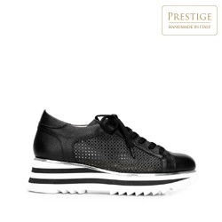 Leather fashion trainers with perforated upper, black-white, 92-D-104-1-41, Photo 1