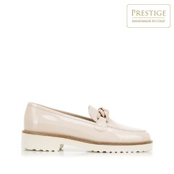 Patent leather moccasins with chain detail, beige, 92-D-105-8-38_5, Photo 1