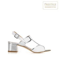 Sandały ze skóry croco na słupku, biało - srebrny, 92-D-107-0-39, Zdjęcie 1