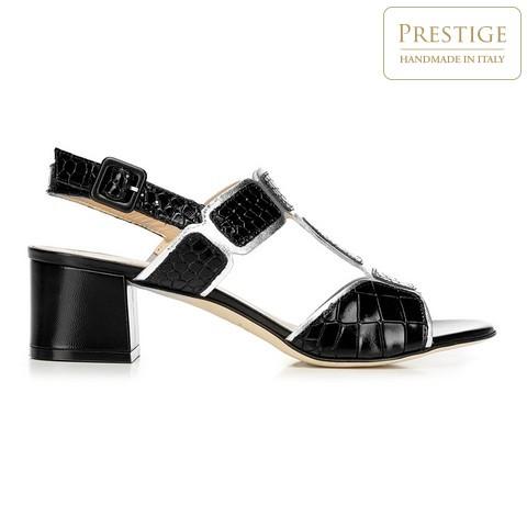 Sandały ze skóry croco na słupku, czarno - srebrny, 92-D-107-0-37_5, Zdjęcie 1