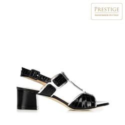Damskie sandały ze skóry croco na słupku, czarno - srebrny, 92-D-107-1-40, Zdjęcie 1