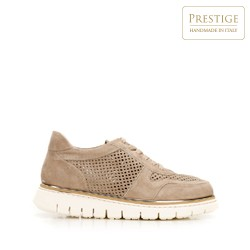 Suede fashion trainers with perforated upper, beige, 92-D-114-9-38, Photo 1