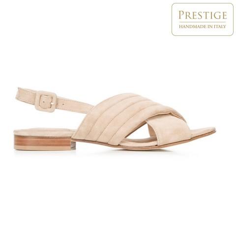 Damskie sandały zamszowe z paskami na krzyż, beżowy, 92-D-117-9-38_5, Zdjęcie 1