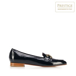 Women's patent leather bit loafers, navy blue, 92-D-119-7-35, Photo 1