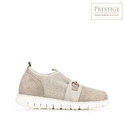 Damskie sneakersy z zamszu z siateczką, beżowo - srebrny, 92-D-129-9-38_5, Zdjęcie 1