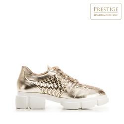 Damskie plecione sneakersy na platformie, złoty, 92-D-130-G-40, Zdjęcie 1