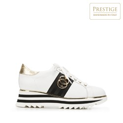 Damskie sneakersy skórzane na platformie, biało - czarny, 92-D-132-0-37, Zdjęcie 1