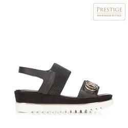 Damskie sandały skórzane z grubą gumką, czarny, 92-D-133-1-37, Zdjęcie 1