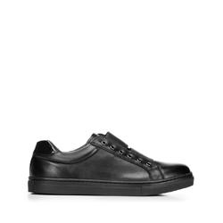 Damskie sneakersy skórzane na gumkę, czarny, 92-D-351-1-35, Zdjęcie 1