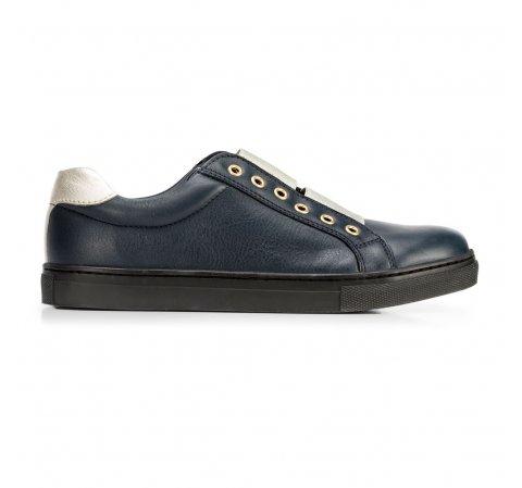 Damskie sneakersy skórzane na gumkę, granatowy, 92-D-351-1-39, Zdjęcie 1