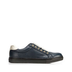 Damskie sneakersy skórzane na gumkę, granatowy, 92-D-351-7-41, Zdjęcie 1