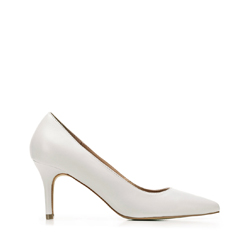 Leather high heel pointed shoes, grey, 92-D-551-8-38, Photo 1