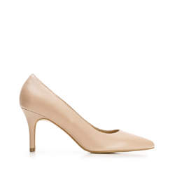 Leather high heel pointed shoes, beige, 92-D-551-9-39, Photo 1