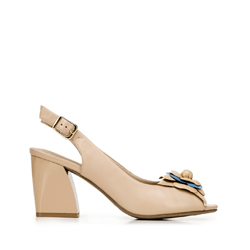 Block heel peep toe court shoes, beige, 92-D-552-9-41, Photo 1